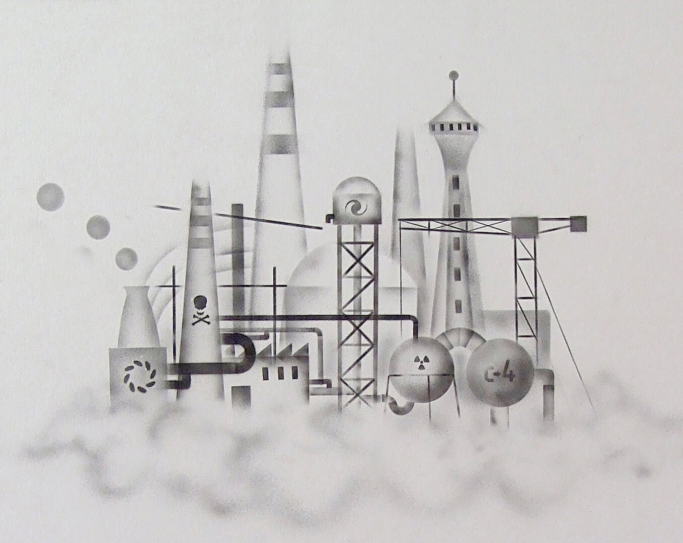 Factory 3, 100 x 70 cm, ink on paper, 2009.