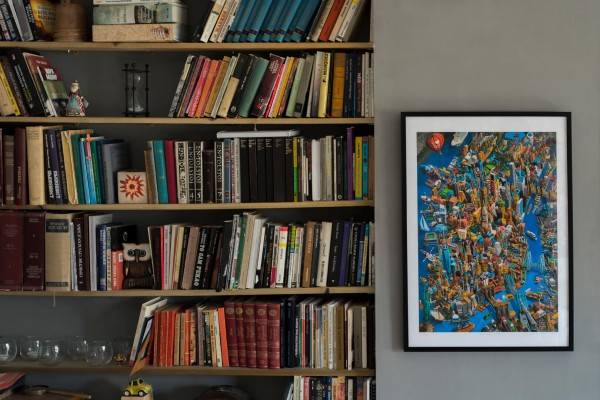 M-NYC-paper, black frame,in room