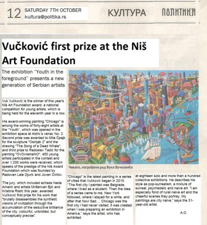 Newspaper article, Politika , Saturday, 7th October 2017, page 12.