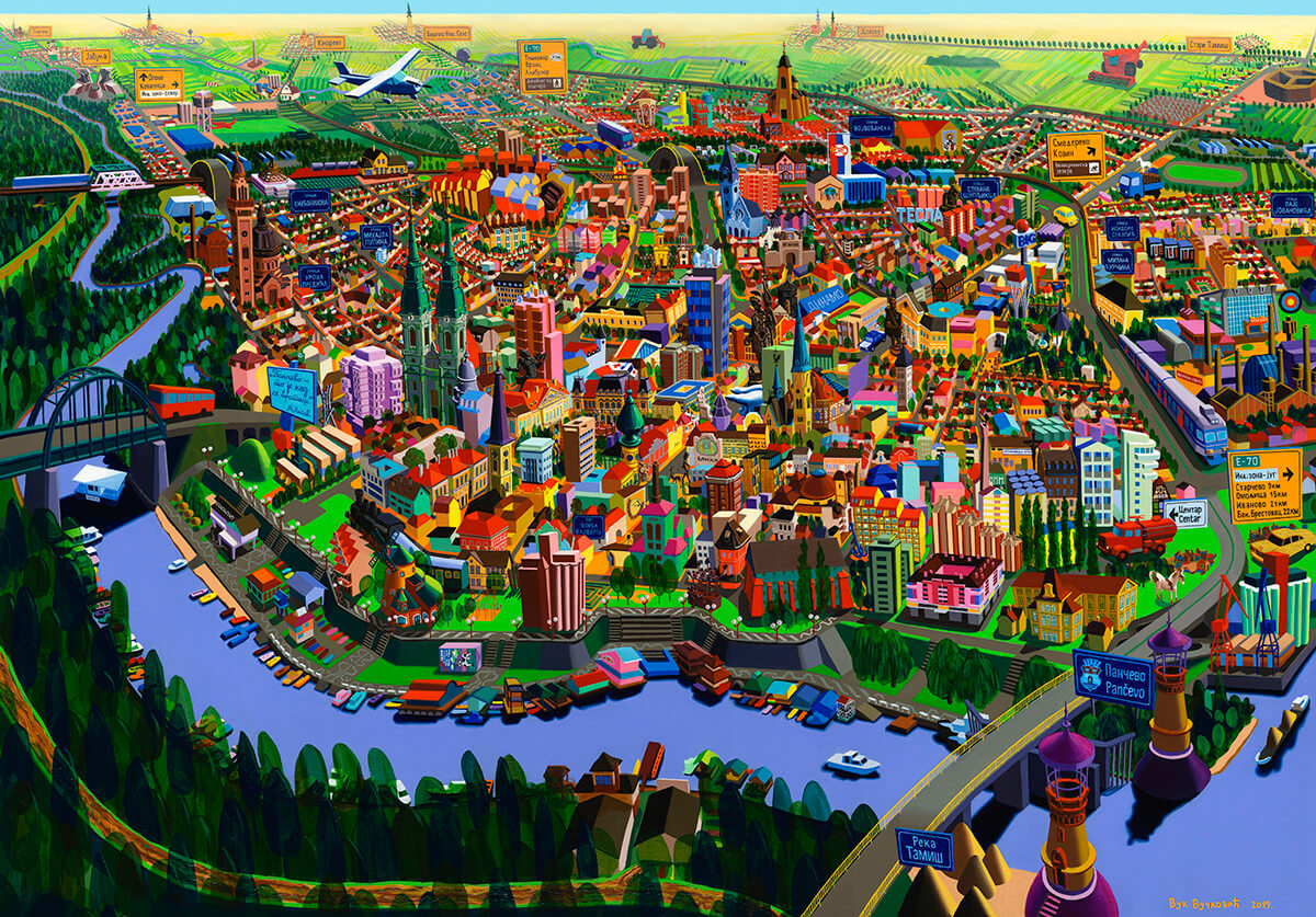 Pancevo, oil colors on canvas, 150 x 215 cm, 2019, Vuk Vuckovic -Wolf