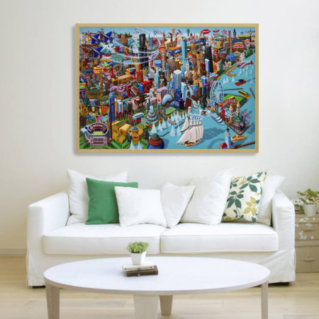 chicago canvas xl framed in room