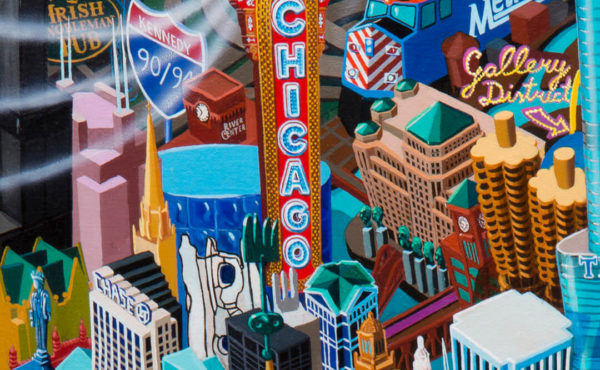 Chicago (detail), oil on canvas, 215 x 150 cm, 2017. Vuk Vučković